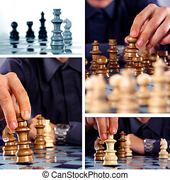 Chess collage - Businessman playing chess game, chess...