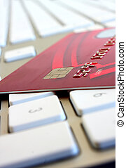 Online shopping concept, credit card and computer keyboard