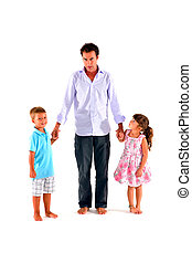 father with two children