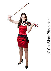 Violinist girl in red dress isolated on white background