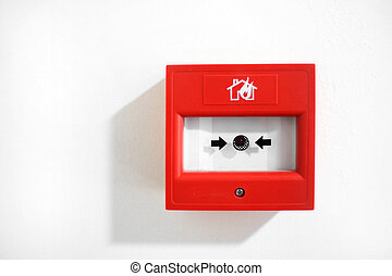 Fire alarm security button isolated on white