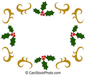 Holly berry frame - Holly berry Christmas frame. Vector...