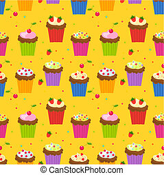 Cupcake wallpaper - Seamless pattern with cupcakes