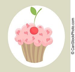Cupcake - One cupcake with cherry