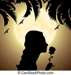 silhouette of a girl with a flower under palm tree