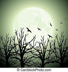 big moon, trees and birds