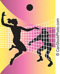 abstract illustration of volleyball players - vector...