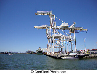 Cargo Cranes in Oakland Harbor on a nice day