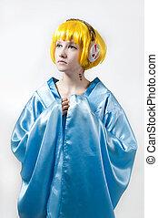 niña, azul, kimono