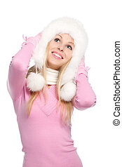 emotional woman - attractive happy smile woman wear winter...