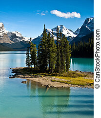 The Canadian Rockies - The world famous, Spirit Island, in...