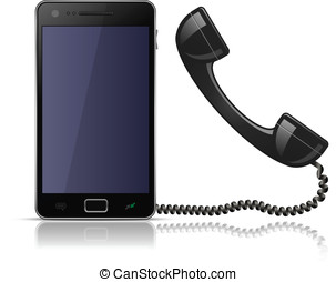 Old school telephone handset for smartphone. Vector...