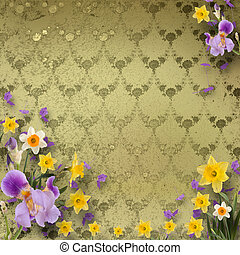 Beautiful frame with irises and daffodils on the background...