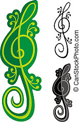 Lizards treble clef - Treble clef shaped like a green lizard...