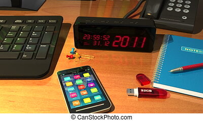 "Clock with ""Happy New Year!"" - Macro view of digital alarm..."