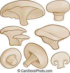 Woodcut mushrooms - Beige mushroom icons with woodcut...