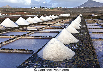 Salt refinery, Saline from Janubio, Lanzarote, Spain