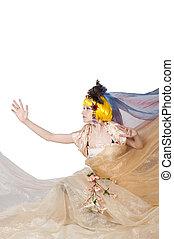 Beautiful girl the princess in a fabric