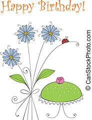 Happy Birthday - Greeting card with flowers birthday cake...