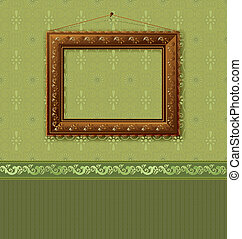 Wooden picture frame on the wall with wallpaper