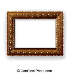 Wooden vintage frame isolated