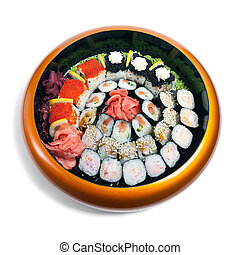 Set of sushi in wooden circle plate isolated on white
