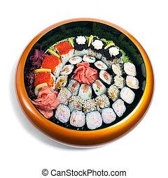 madeira, prato, círculo, jogo,  sushi