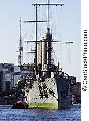 Cruiser Aurora - symbol of revolution in StPetersburg,...