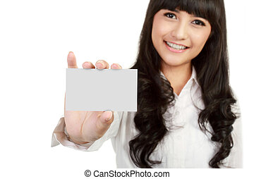 Business card or white sign - Portrait of a beautiful...