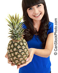portrait of a beautiful caucasian woman with pineapple