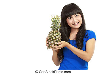 Full isolated portrait of a beautiful caucasian woman with pineapple in white background