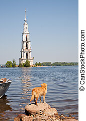 flooded belltower on river Volga, Kalyazin, Russia