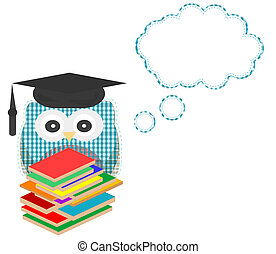 Owl teacher and books with vector speech bubble - Owl...