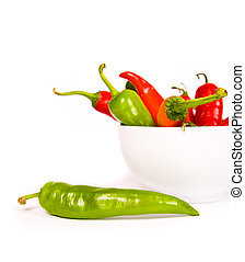 Red chili peppers over a white background
