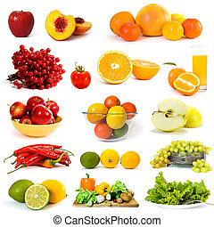 Vegetables and fruits collection on white background