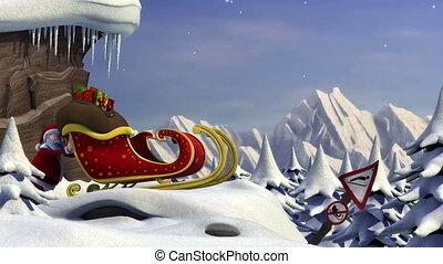Santa's sleigh jump - Cartoon Santa Claus using a ski jump...