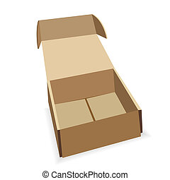 Open box - Open cardboard box on a white background. Packing