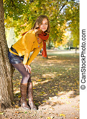 Colorful fall fashion woman. - Outdoors portrait of...