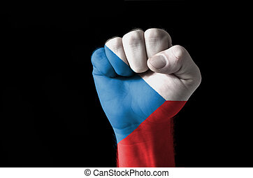 Fist painted in colors of czech flag
