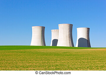 cooling towers - giant cooling towers of nuclear power plant