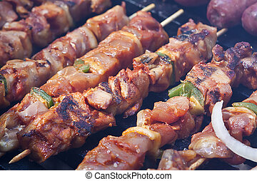 Barbecue - Cooking kebak and sausage on a barbecue grill