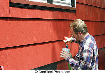 Home Improvement Painting - Mature male dipping a paintbrush...