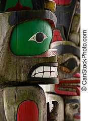 Totem Pole Detail Duncan, British Columbia, Canada - Detail...