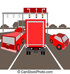 Seeing red in traffic - Illustration of a traffic jam on the...