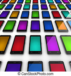 Mobile phones with colorful screens
