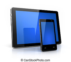 Modern digital pad and phone  with blue screen isolated - own design
