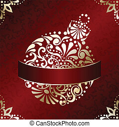 Elegant Christmas card in red - : Red and gold Christmas...