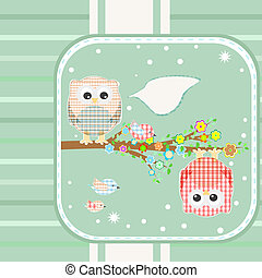 owl and bird on floral branch tree - textile owl and bird on...
