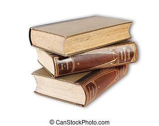 Old books pile over white background
