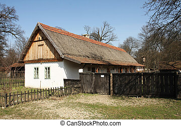 Traditional eastern Europe country house in forest